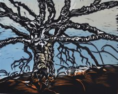 Gnarly Tree Multi-color woodcut 10x8