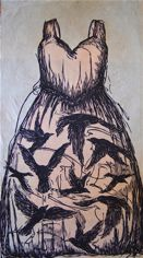 Pink Dress Two-color woodcut 12x25