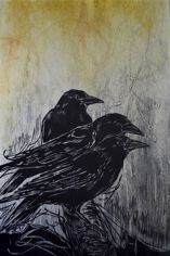 Three Crows Woodcut with collagraph 12x25